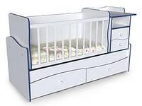 Детская кровать трансформер с маятником столом и пеленатором Волна 2 Белая с синей кромкой