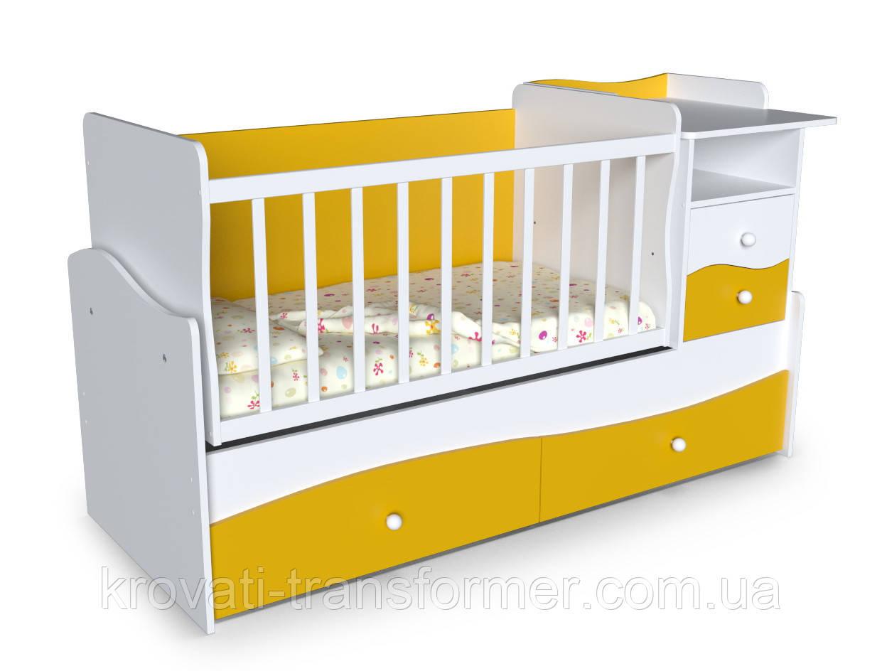 Детская кровать трансформер с пеленатором и столом Волна 2 Желтая с белым