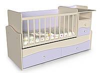 Детская кровать трансформер от 0 до 12 лет с пеленатором Волна 2 Лаванда + Слоновая кость