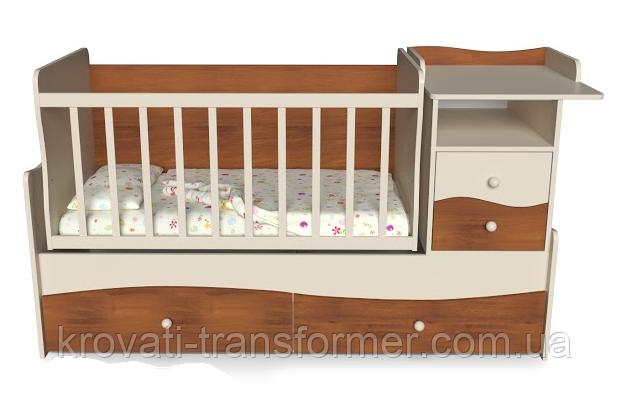 Детская кровать трансформер с пеленатором Волна 2 Яблоня + слоновая кость