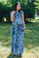 Платье в пол из легкого хлопка большого размера 62