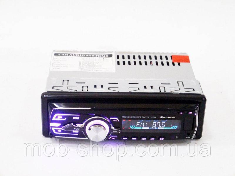 Автомагнитола пионер Pioneer 3228D Usb+RGB подсветка+Fm+Aux+пульт СЪЕМНАЯ ПАНЕЛЬ (4x50W)