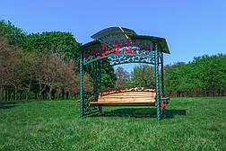 """Садовые качели """"Роза"""" (цвет зеленый), материал основы сидения - дуб, фото 2"""