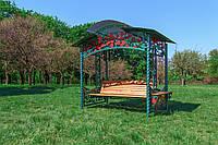 """Садовые качели """"Роза"""" (цвет зеленый), материал основы сидения - дуб"""
