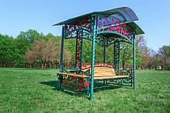 """Садовые качели """"Роза"""" (цвет зеленый), материал основы сидения - дуб, фото 3"""