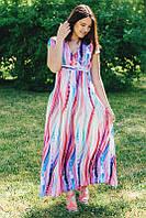 Платье летнее длинное Волна большого размера