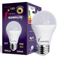 Светодиодная лампа SIRIUS, 10W, 3000K, тёплого свечения, цоколь - Е27, 2 года гарантии!!
