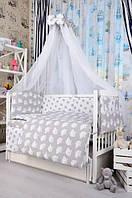 Набор постельного белья в детскую кроватку Bepino Польша Совы/Звездочки серый