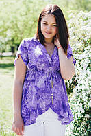 Блуза туника большого размера на короткий рукав