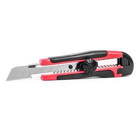 Нож с металлической направляющей под лезвие 18 мм с обрезиненной рукояткой INTERTOOL (HT-0503)