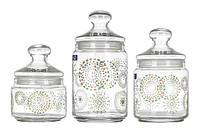 Набор банок для хранения сыпучих продуктов (0,5л,0,75л,1л) Luminarc Rainbow Flakes L5647