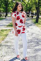 Туника белая с маками большого размера хлопок