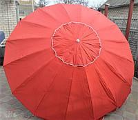 Пляжный зонт, торговый зонтик, садовый, диаметр 3,5м, круглый, зонт 16 спиц с клапаном, красный