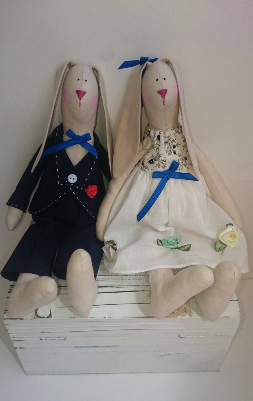 Кролики в стиле Тильда, свадебная парочка Hand Hand