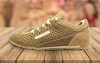 Кожаные летние кроссовки перфорация Columbia SB brown N