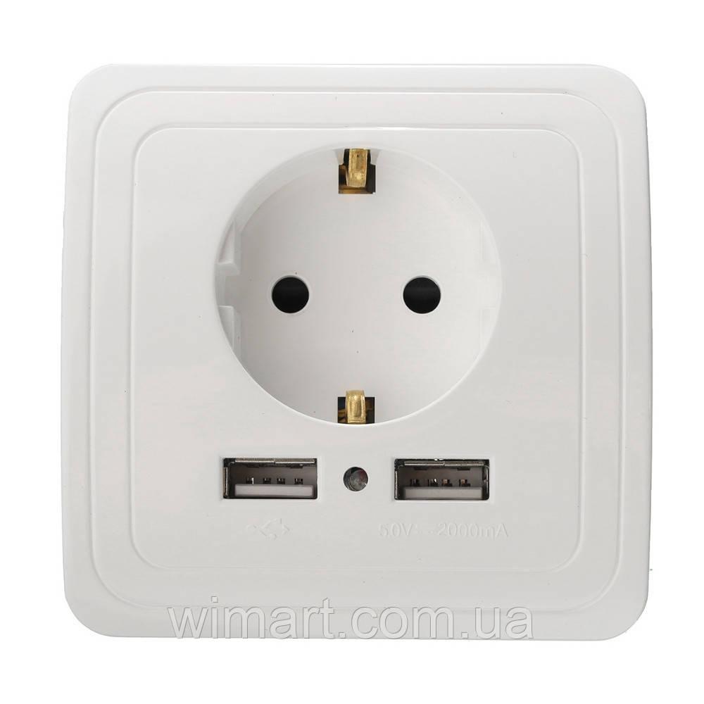 Розетка настенная, 2 USB 2A белая.