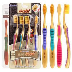 Набір зубних щіток з бамбукового вугілля Корея супер ручка 4шт в уп
