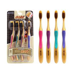 Набір зубних щіток бамбук, Нано + голд Корея супер ручка 4шт в уп