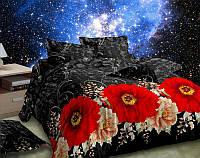 Постельное белье евро и двухспальное Черная ночь с красными цветами