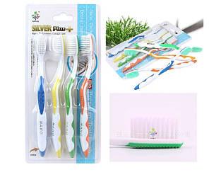 Набір Корейських зубних щіток з сріблом Сільвер + супер ручка (4шт)