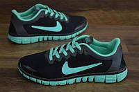 60883143 Женские повседневные кроссовки NIKE Free Run 3.0 черные с бирюзой