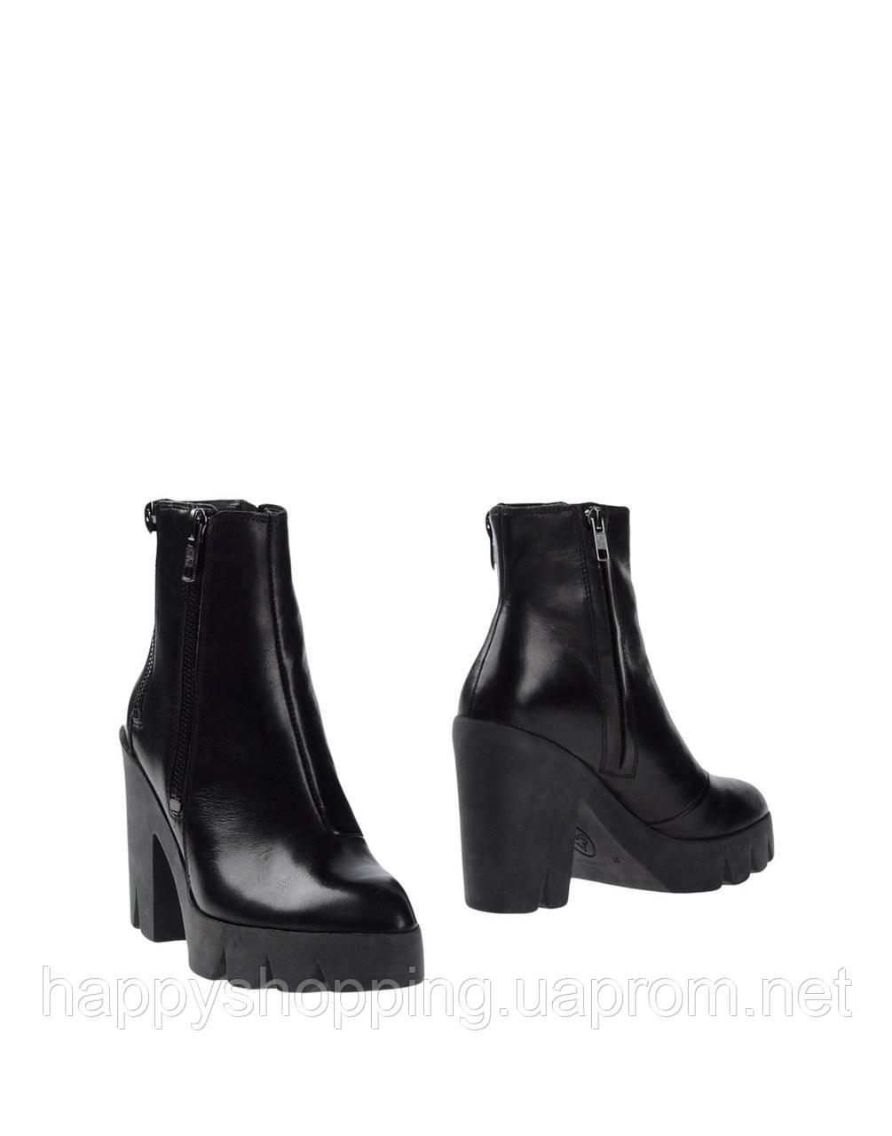 Женские  стильные молодежные черные кожаные ботинки ASH на каблуке