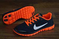 Женские повседневные кроссовки NIKE Free Run 3.0 черные с оранжевым
