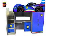 Кровать - комната с комодом 3 серия Драйв Феррари синяя
