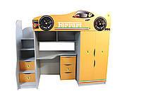 Кровать - комната с комодом 3 серия Бренд  Феррари оранж
