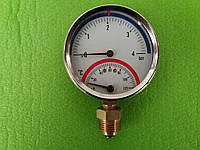Термоманометр радиальный на резьбе 1/2 дюйма Ø80мм / 0-4 бар / Tmax=120°С