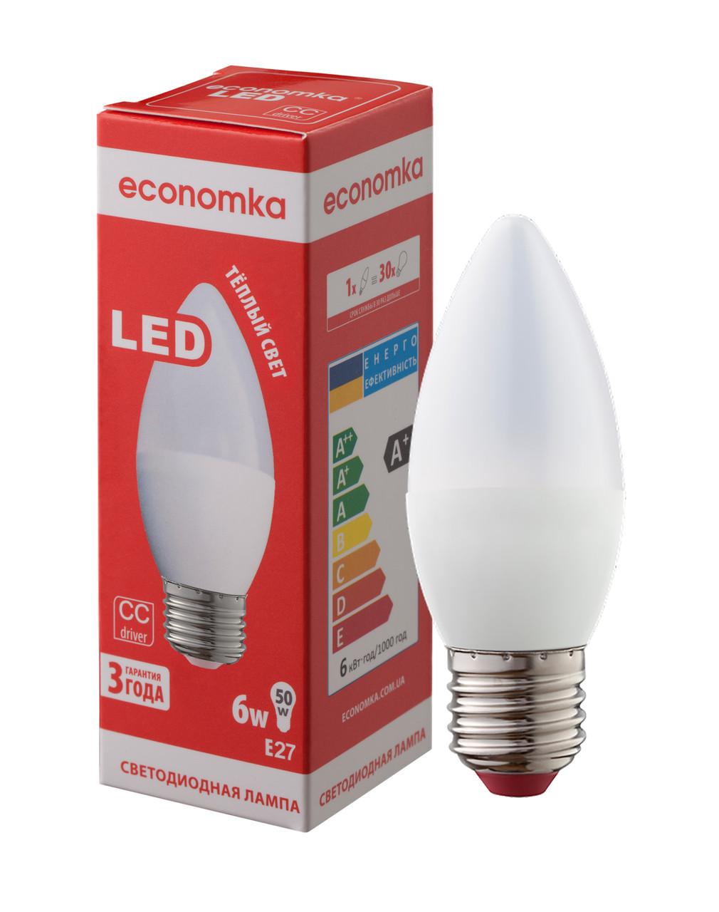 Светодиодная лампа Economka LED CN 6W E27-2800К