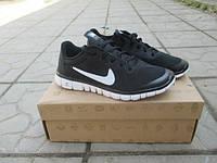 Женские повседневные кроссовки NIKE Free Run 3.0 черные с белым