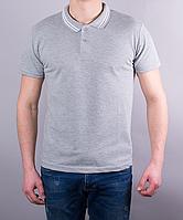 Серая мужская тениска с двойным кантиком на воротнике
