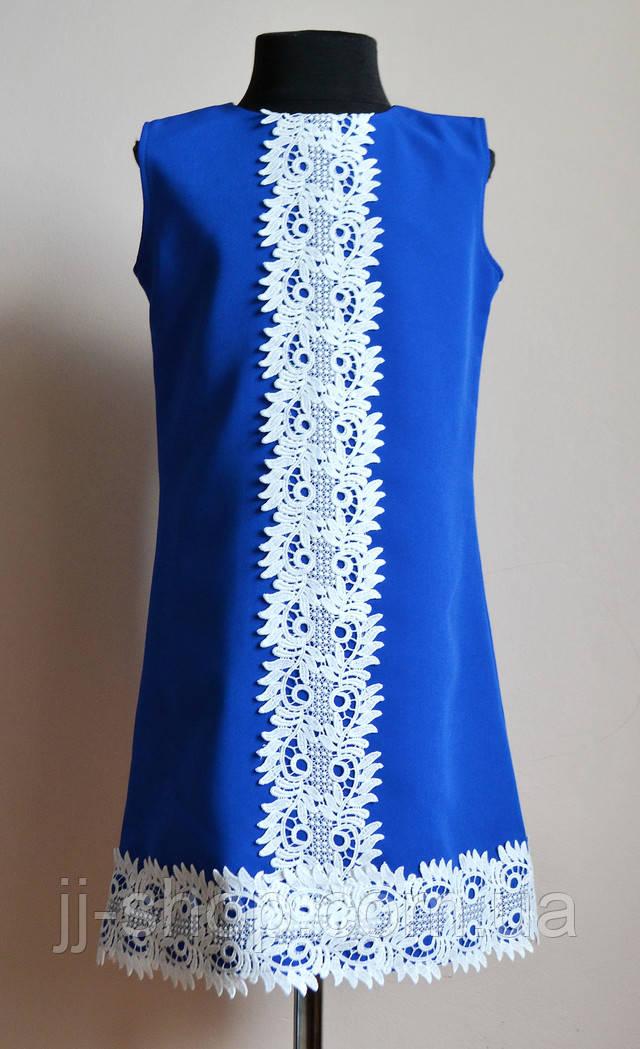 Платье подростоковое синего цвета с кружевом