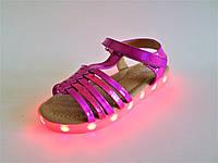 Босоножки LED светящиеся, с подзарядкой, для девочек на липучке