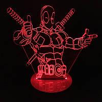 Светодиодная 3D-лампа Lite Deadpool