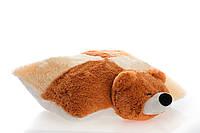 Подушка Алина мишка 45 см персиковый и коричневый