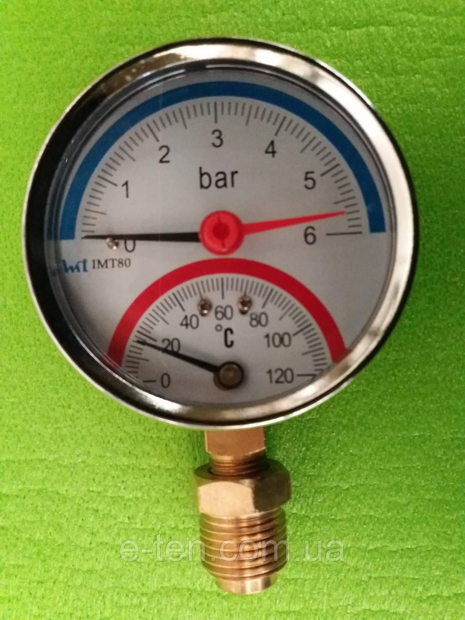 Термоманометр радиальный на резьбе 1/2 дюйма Ø80мм / 0-6 бар / Tmax=120°С Китай