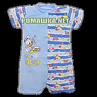 Детский песочник-футболка р. 80-86 ткань КУЛИР 100% тонкий хлопок ТМ Алекс 3092 Голубой А 86