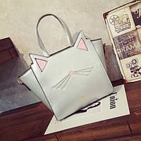 Серебристая сумка Котик с ушками, фото 1