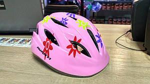 Шлем детский AVKHM-021 Avanti розовый с цветочками от 3х до 8 лет
