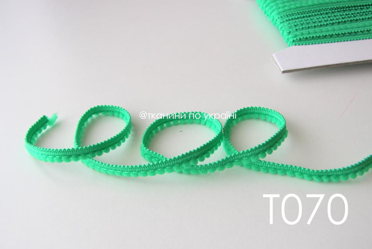 Тесьма со вставками зеленая 9 мм (Т070)