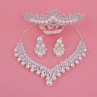 Набор свадебных украшений (бижутерия с камнями) для невесты - диадема, серьги, колье