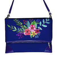 Синяя сумка через плечо женская с принтом Цветник