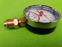 Термоманометр радиальный на резьбе 1/2 дюйма Ø80мм / 0-16 бар / Tmax=120°С Китай