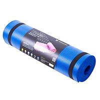 Коврик для йоги (йога мат) каучуковый с ремнем NBR IRONMASTER (синий)