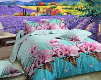 Постельное белье евро и двухспальное Бирюза с розовыми цветами