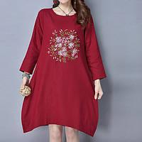Летнее платье-мешок с длинным рукавом бордо