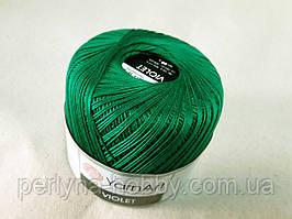 Пряжа нитки для вязания хлопковые  Виолет Ярнарт Violet YarnArt 100% бавовна зелений смарагд 6334