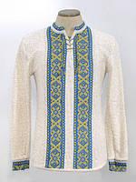 Мужская вязаная рубашка Крестики желто-синие